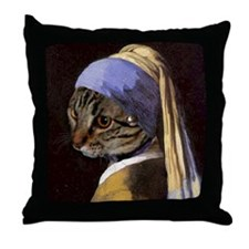 Cat VERMEER EARRING Throw Pillow