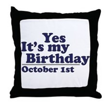 October 1st Birthday Throw Pillow