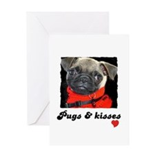 PUGS AND KISSES BIRTHDAY Greeting Card