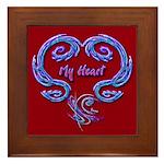 My Heart Red Framed Art Tile