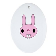 Evil Bunny Oval Ornament