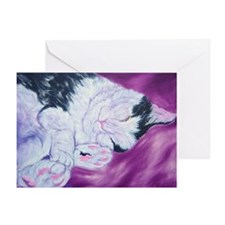 Black and White Cat Nap Greeting Card