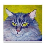 Longhaired Tabby Cat Tile Coaster