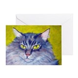 Longhaired Tabby Cat Greeting Card