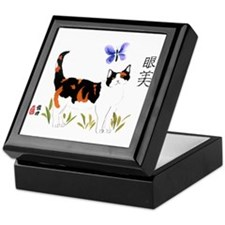 Calico Cat Butterfly Keepsake Box