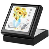 Siamese Cat Sunflowers Vase Keepsake Box