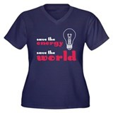 Save the World Women's Plus Size V-Neck Dark T-Shi