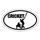 Cricket Batsman Oval Decal