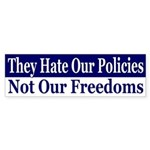 Policies, Not Freedoms (bumper sticker)