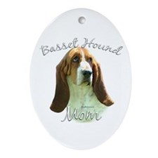 Basset Mom2 Oval Ornament