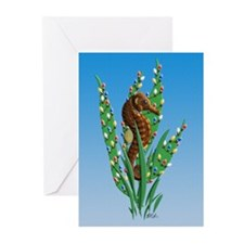 Christmas Seahorse Greeting Cards (Pk of 10) {HH}