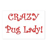 Crazy Pug Lady! Postcards (Package of 8)