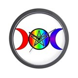Triple Moon Pentacle Wall Clock - Rainbow
