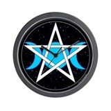 Pentacle Triple Moon Wall Clock - Black