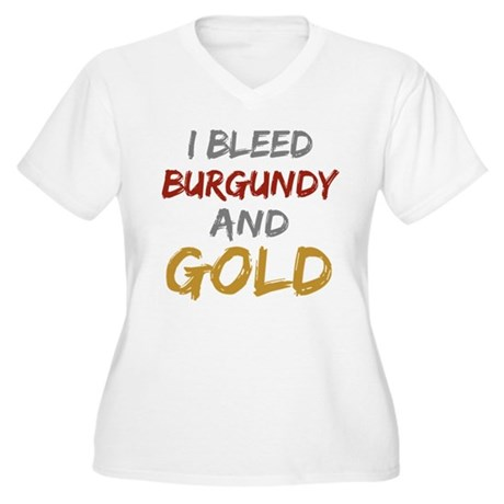 I Bleed Burgundy and gold Women's Plus Size V-Neck