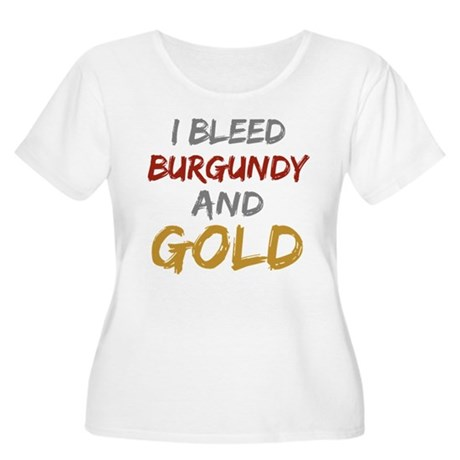 I Bleed Burgundy and gold Women's Plus Size Scoop