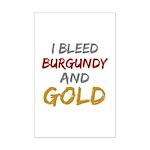 I Bleed Burgundy and gold Mini Poster Print