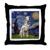 Starry Night & Dalmatian Throw Pillow