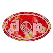 Tie Dye Euro Oval Sticker with Peace Sign