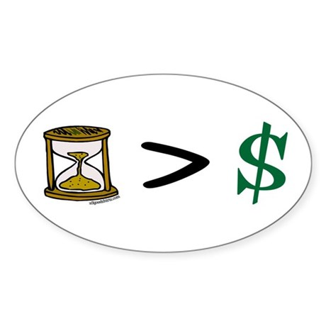 Time Greater Money Oval Sticker