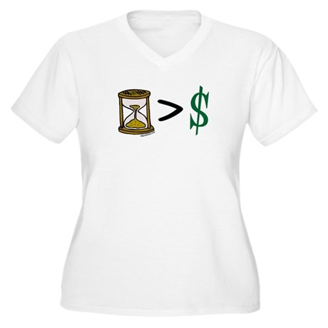 Time Greater Money Women's Plus Size V-Neck T-Shir