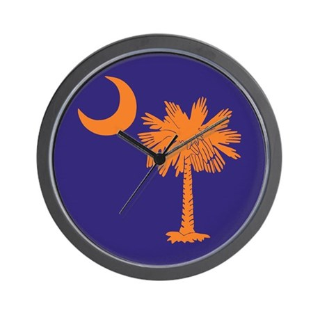 Orange and Purple SC Flag Wall Clock