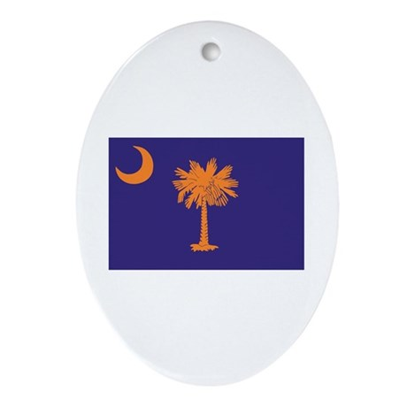 Orange and Purple SC Flag Oval Ornament