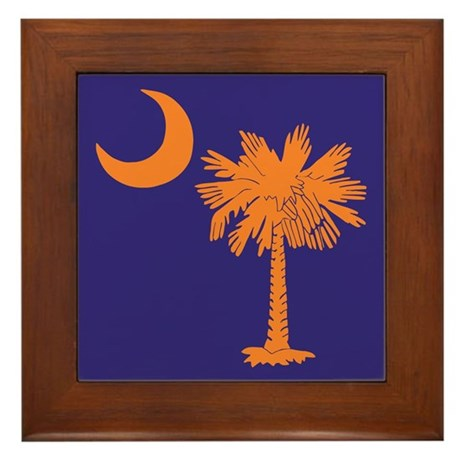 Orange and Purple SC Flag Framed Tile