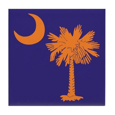 Orange and Purple SC Flag Tile Coaster