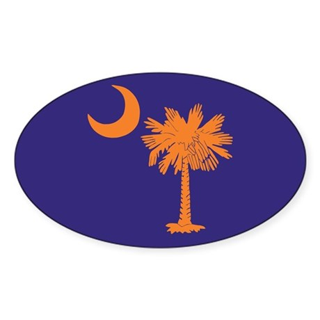 Orange and Purple SC Flag Oval Sticker