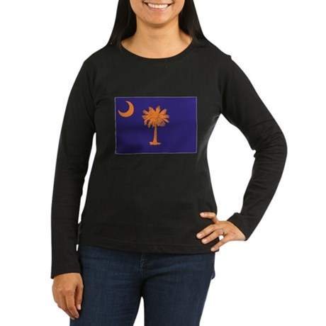 Orange and Purple SC Flag Women's Long Sleeve Dark