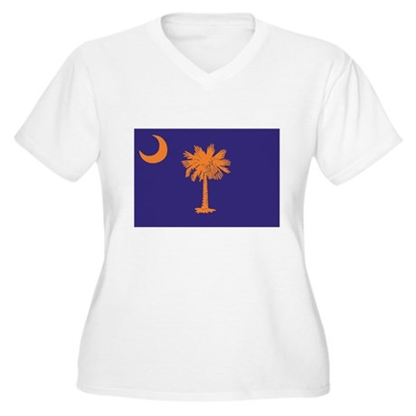 Orange and Purple SC Flag Women's Plus Size V-Neck