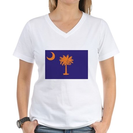 Orange and Purple SC Flag Women's V-Neck T-Shirt