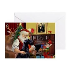 Santa's Giant Schnauzer (Blk) Greeting Card