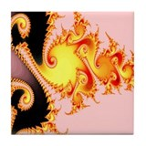 """Golden Dragon"" Fractal Art Tile Coaster"
