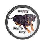 Happy Dad's Day Dachshund Wall Clock