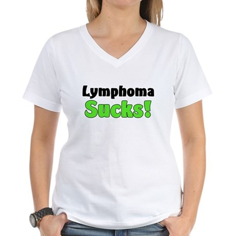Lymphoma Sucks Women's V-Neck T-Shirt