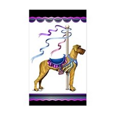 Great Dane Brindle UC Carousel Sticker (Rectangula