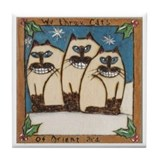 We three Cats of Orient Tile Coaster