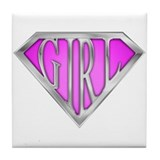 SuperGirl(Pink) Tile Coaster