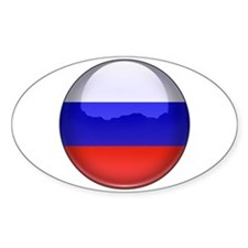 Russia Flag Jewel Oval Decal