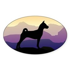 Basenji Purple Mountains Oval Decal