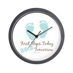 Blue Baby Footprints 26.2 Marathon Wall Clock