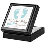 Blue Baby Footprints 26.2 Marathon Keepsake Box