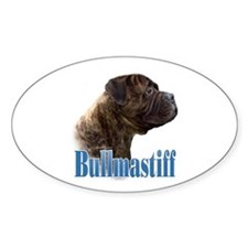 Bullmastiff(brindle)Name Oval Decal