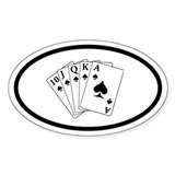 Poker Royal Flush Oval Bumper Stickers