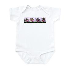 Bulldog Puppy Flower Row Infant Bodysuit