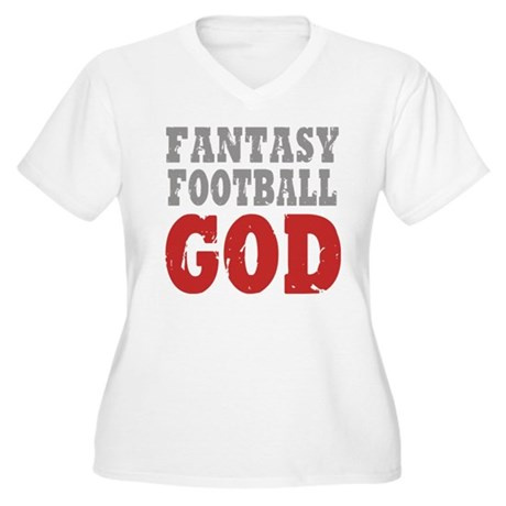 Fantasy Football God Women's Plus Size V-Neck T-Sh