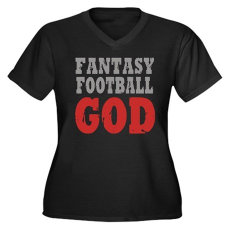 Fantasy Football God Women's Plus Size V-Neck Dark