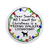 Dear Santa TW Coonhound Christmas Ornament